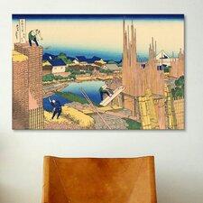 'Honjo Tatekawa, the Timberyard at Honjo' by Katsushika Hokusai Painting Print on Canvas