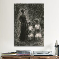 'Femme Avec Deux Fillettes (1882-1884)' by Georges Seurat Painting Print on Canvas