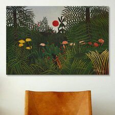 'Jungle Sunset' by Henri Rousseau Painting Print on Canvas