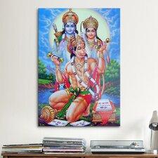 Hindu God Hanuman Graphic Art on Canvas