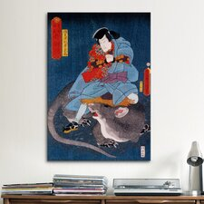 Japanese 'Ichikawa Ichizo' by Kunisada (Toyokuni) Graphic Art on Canvas