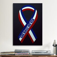 Political God Bless The USA Ribbon Graphic Art on Canvas