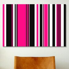 Striped Art Deep Pink on Black Graphic Art on Canvas