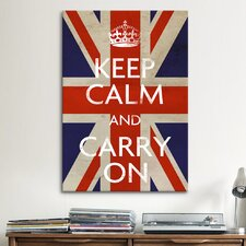 Keep Calm and Carry on (British Flag) Textual Art on Canvas