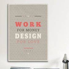 American Flat Design for Love Textual Art on Canvas
