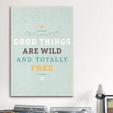 American Flat Wildly Free Textual Art on Canvas