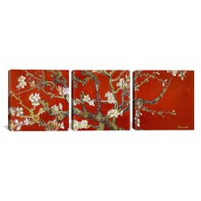 Vincent van Gogh Almond Blossom 3 Piece on Canvas Set in Red