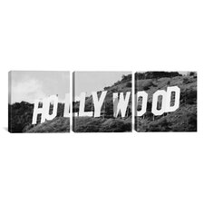 Panoramic Photography Hollywood Skyline Cityscape Sign 3 Piece on Canvas Set in Black and White