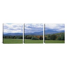 Photography Clouds Over a Grassland MT Mansfield, Vermont, USA 3 Piece on Canvas Set