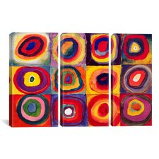Wassily Kandinsky Squares with Concentric Circles 3 Piece on Canvas Set