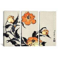 Ando Hiroshige Poppies Katsushika Hokusai 3 Piece on Canvas Set