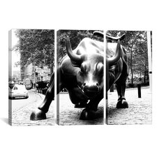 Political Wall Street Bull 3 Piece on Canvas Set in Black and White