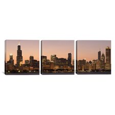 Panoramic Photography Chicago Skyline Cityscape Dusk 3 Piece on Canvas Set