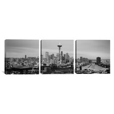Panoramic Photography Seattle Skyline Cityscape Evening 3 Piece on Canvas Set in Black and White
