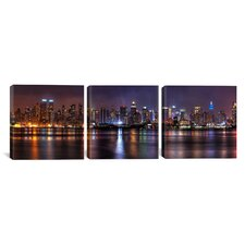 Panoramic Photography New York Skyline Cityscape (Night) 3 Piece on Canvas Set