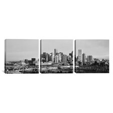Panoramic Photography Denver Skyline Cityscape Sunset 3 Piece on Canvas Set in Black and White