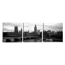 Photography Westminster Bridge, Big Ben, Houses of Parliament, London 3 Piece on Canvas Set