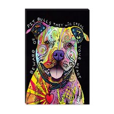 "<strong>iCanvasArt</strong> ""Beware of Pit Bulls"" Canvas Wall Art by Dean Russo"