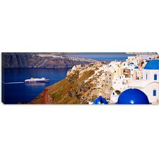 <strong>iCanvasArt</strong> Buildings in a Valley, Santorini, Cyclades Islands, Greece Canvas Wall Art