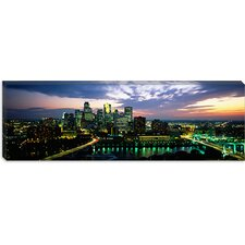 <strong>iCanvasArt</strong> Buildings Lit Up At Dusk, Minneapolis, Minnesota, Canvas Wall Art