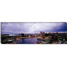 <strong>iCanvasArt</strong> Buildings Lit Up At Dusk, Baltimore, Maryland, Canvas Wall Art