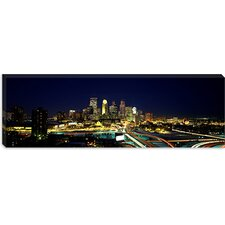 <strong>iCanvasArt</strong> Buildings Lit Up At Night in a City, Minneapolis, Hennepin County, Minnesota, Canvas Wall Art