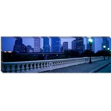 <strong>iCanvasArt</strong> Buildings Lit Up At Dusk, Houston, Texas, Canvas Wall Art