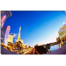 <strong>iCanvasArt</strong> Buildings Lit Up At Dusk, Las Vegas, Nevada, Canvas Wall Art