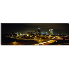 Buildings Lit Up At Night, Kansas City, Missouri, Canvas Wall Art