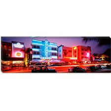 <strong>iCanvasArt</strong> Buildings Lit Up At Night, South Beach, Miami Beach, Florida, Canvas Wall Art