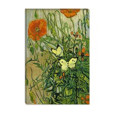 "<strong>iCanvasArt</strong> ""Butterflies and Poppies"" Canvas Wall Art by Vincent van Gogh"