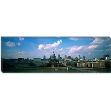 <strong>iCanvasArt</strong> Buildings On The Waterfront, St. Paul's Cathedral, London, England Canvas Wall Art