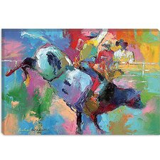 "<strong>iCanvasArt</strong> ""Bull Riding"" Canvas Wall Art By Richard Wallich"
