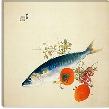 "<strong>iCanvasArt</strong> ""Autemn Fattens Fish and Ripens Wild Fruits"" Canvas Wall Art by Takeuchi Seiho"
