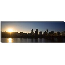 Buildings along The Waterfront at Sunset, Willamette River, Portland, Oregon Canvas Wall Art