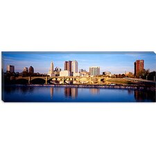 Bridge Across a River, Scioto River, Columbus, Ohio Canvas Wall Art