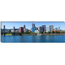 Bridge Across a River, Willamette River, Portland, Oregon 2010 Canvas Wall Art
