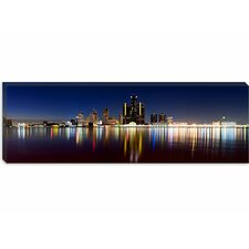<strong>iCanvasArt</strong> Buildings in a City Lit Up at Dusk, Detroit River, Detroit, Michigan Canvas Wall Art