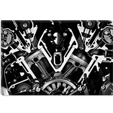 <strong>iCanvasArt</strong> Car Engine Front Grayscale Canvas Wall Art