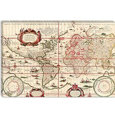 <strong>iCanvasArt</strong> Antique World Map (Blaeu, Willem Janszoon 1606) Canvas Wall Art