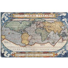 <strong>iCanvasArt</strong> Antique Map of the World 1570 Canvas Wall Art