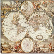 "<strong>iCanvasArt</strong> ""Antique World Map III"" Canvas Wall Art by Interlitho Designs"