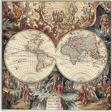 "<strong>iCanvasArt</strong> ""Antique World Map I"" Canvas Wall Art by Interlitho Designs"