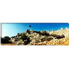 Byzantine Castle of Kalekoy with a Turkish National Flag, Antalya Province, Turkey Canvas Wall Art