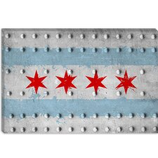 <strong>iCanvasArt</strong> Chicago, Illinois - Grunge Rivet Metal Painted Canvas Wall Art