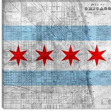 <strong>iCanvasArt</strong> Chicago Flag, Map Canvas Wall Art
