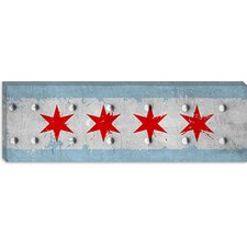 <strong>iCanvasArt</strong> Chicago, Illinois - Rivet Metal Painted Panoramic Canvas Wall Art