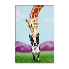 <strong>iCanvasArt</strong> Boston Terrier Giraffe Canvas Wall Art