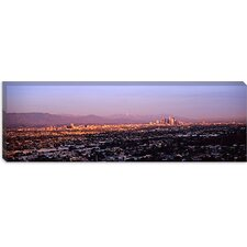 Buildings in a city, Hollywood, San Gabriel Mountains, City Of Los Angeles, California Canvas Wall Art