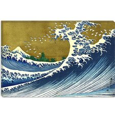 "<strong>iCanvasArt</strong> ""A Colored Version of The Big Wave"" Canvas Wall Art by Katsushika Hokusai"